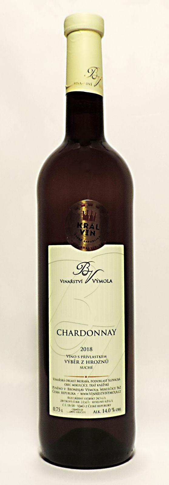 Chardonnay 2018, výběr z hroznů, suché, 0,75 l - vinařství Výmola