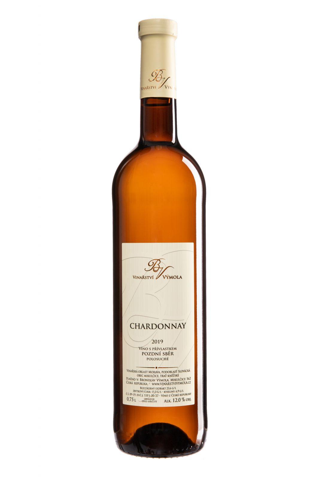 Chardonnay 2019, pozdní sběr, polosuché, 0,75 l - vinařství Výmola