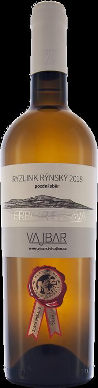 Ryzlink rýnský - Terroir Pálava, 2018, pozdní sběr, suché, 0,75 l - vinařství Vajbar