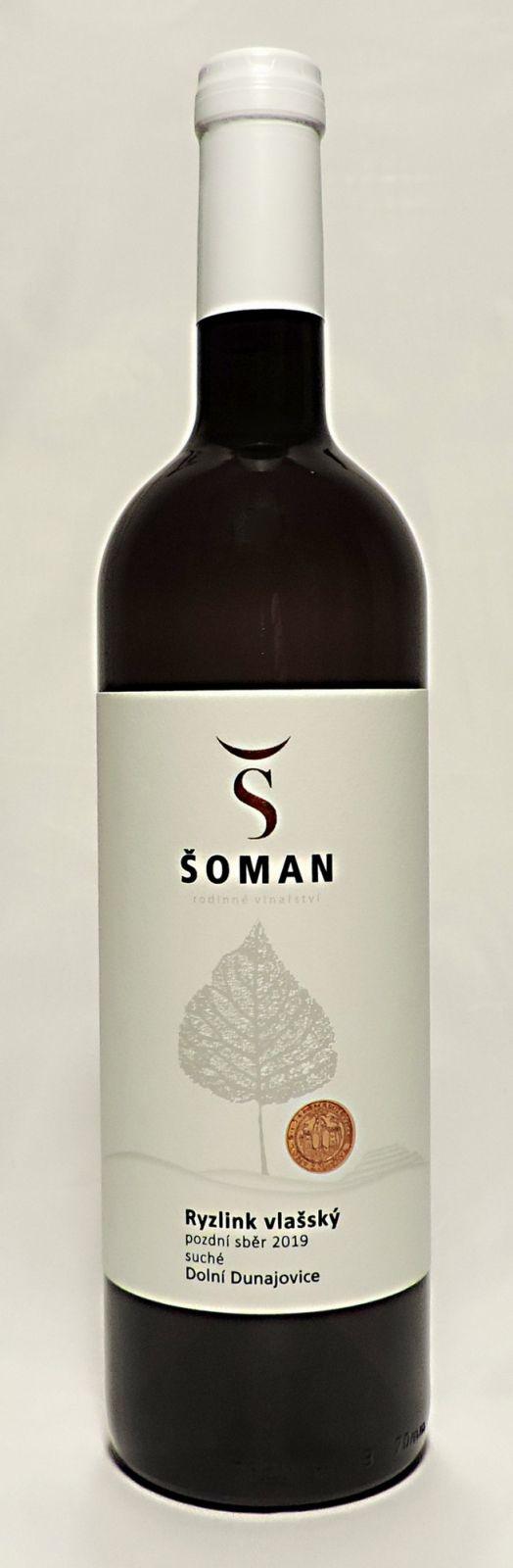 Ryzlink vlašský 2019, pozdní sběr, suché, 0,75 l - vinařství Šoman