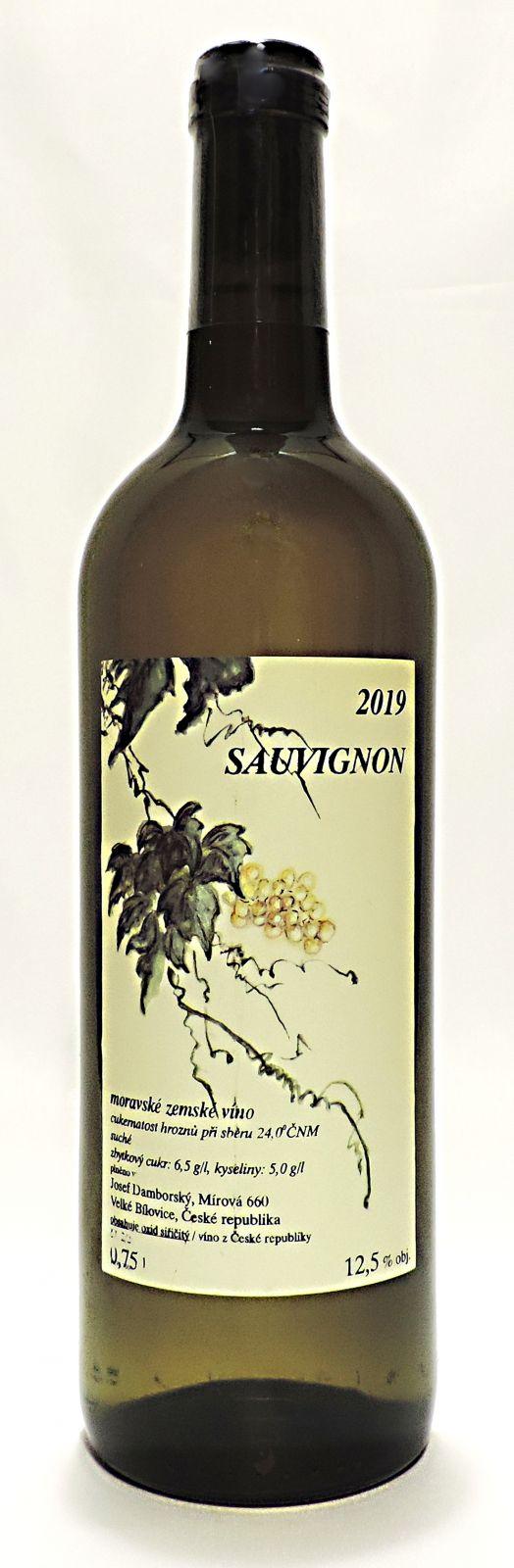 Sauvignon 2019, MZV, suché, 0,75 l - vinařství Josef Damborský