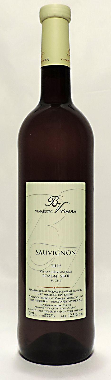 Sauvignon 2019, pozdní sběr, suché, 0,75 l - vinařství Výmola