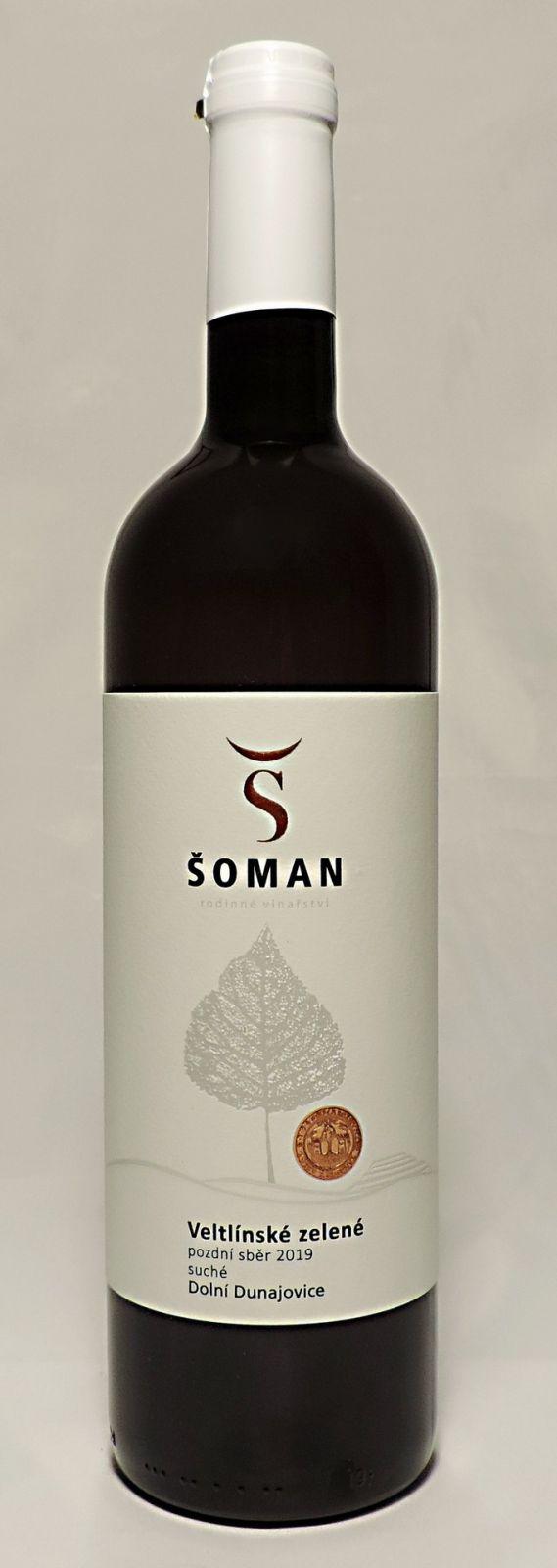 Veltlínské zelené 2019, pozdní sběr, suché, 0,75 l - vinařství Šoman